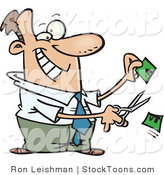 Stock Cartoon of a Business Guy Cutting Money in Half by Ron Leishman