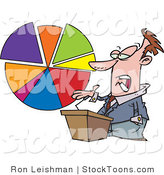 Stock Cartoon of a Business Man Discussing Statistics by Toonaday