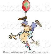 Stock Cartoon of a Business Man Floating Away on an Inflation Balloon by Ron Leishman