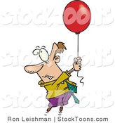 Stock Cartoon of a Business Man Getting Carried Away by a Floating Red Balloon by Toonaday