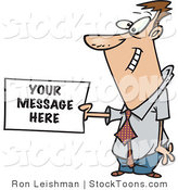 Stock Cartoon of a Business Man Holding a Sign by Toonaday