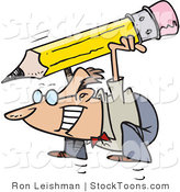 Stock Cartoon of a Business Man Jumping with a Pencil by Toonaday