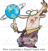 Stock Cartoon of a Business Man Spinning a Globe on His Finger by Toonaday