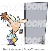 Stock Cartoon of a Business Man Waiting for an Elevator by Toonaday