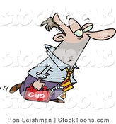 Stock Cartoon of a Business Man Walking with a Can of Gasoline by Ron Leishman