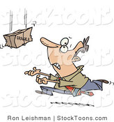Stock Cartoon of a Businessman Trying to Catch a Falling Fragile Package by Toonaday