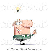 Stock Cartoon of a Businessman with a Lighbulb over His Head by Hit Toon
