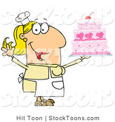Stock Cartoon of a Cake Baker Woman by Hit Toon