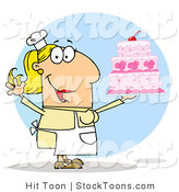Stock Cartoon of a Cake Maker Woman by Hit Toon