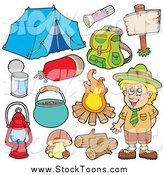 Stock Cartoon of a Camper Scout Boy and Camping Gear by Visekart