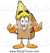 Stock Cartoon of a Cardboard Box Character Wearing a Birthday Party Hat by Toons4Biz