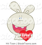 Stock Cartoon of a Caring Beige Rabbit by Hit Toon