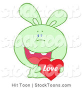 Stock Cartoon of a Caring Green Rabbit by Hit Toon