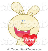 Stock Cartoon of a Caring Yellow Rabbit by Hit Toon