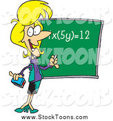 Stock Cartoon of a Cartoon Blond Female Math Teacher During Class by Toonaday