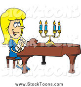 Stock Cartoon of a Cartoon Blond Woman Playing a Piano by Toonaday