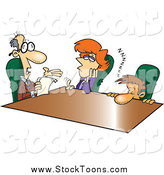 Stock Cartoon of a Cartoon Boring Boss Talking to Employees by Toonaday