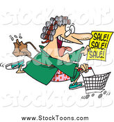 Stock Cartoon of a Cartoon Crazed Woman in Her Robe and Curlers, Running to a Sale by Toonaday