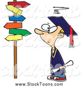 Stock Cartoon of a Cartoon Graduate Boy Staring at Crossroads Signs by Ron Leishman