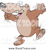 Stock Cartoon of a Cartoon Happy Bear Celebrating by Toonaday