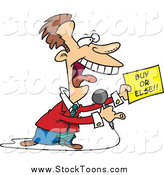 Stock Cartoon of a Cartoon Infomercial Host with a Buy or Else Sign by Toonaday