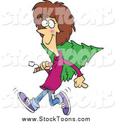 Stock Cartoon of a Cartoon Merry White Woman Carrying a Christmas Tree by Toonaday