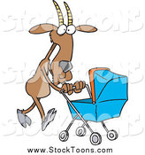 Stock Cartoon of a Cartoon Nanny Goat Pushing a Carriage by Toonaday