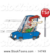 Stock Cartoon of a Cartoon Red Haired White Woman Running a Stop Sign by Ron Leishman