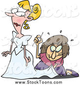 Stock Cartoon of a Cartoon Seamstress Hurredly Tailoring a Bride's Dress at the Last Minute by Toonaday