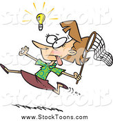 Stock Cartoon of a Cartoon White Businesswoman Chasing an Elusive Idea with a Net by Toonaday