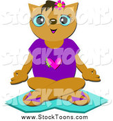 Stock Cartoon of a Cat Meditating by