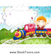Stock Cartoon of a Caucasian Birthday Boy Riding on a Train, with a Blank Cloud by BNP Design Studio
