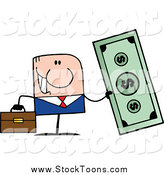Stock Cartoon of a Caucasian Businessman Holding Giant Cash by Hit Toon