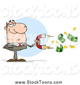 Stock Cartoon of a Caucasian Businessman Using a Money Magnet by Hit Toon