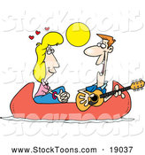 Stock Cartoon of a Caucasian Couple on a Romantic Date in a Canoe by Toonaday