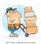 Stock Cartoon of a Caucasian Delivery Guy by Hit Toon
