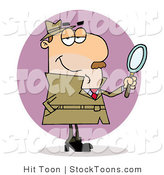 Stock Cartoon of a Caucasian Investigator by Hit Toon