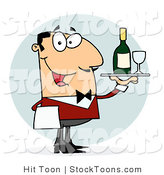 Stock Cartoon of a Caucasian Male Waiter by Hit Toon