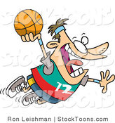 Stock Cartoon of a Caucasian Man About to Dunk a Basketball by Ron Leishman