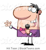 Stock Cartoon of a Caucasian Man Dressed in a in Pink and Purple Tux by Hit Toon