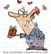 Stock Cartoon of a Caucasian Man Holding a Valentine's Day Gift by Ron Leishman