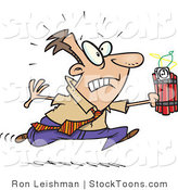 Stock Cartoon of a Caucasian Man Running with Dynamite by Toonaday