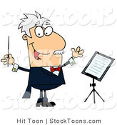 Stock Cartoon of a Caucasian Music Conductor by Hit Toon