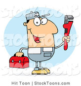 Stock Cartoon of a Caucasian Plumber by Hit Toon