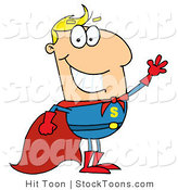 Stock Cartoon of a Caucasian Super Hero by Hit Toon