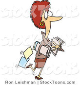 Stock Cartoon of a Caucasian Woman Carrying Company Files by Ron Leishman