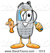 Stock Cartoon of a Cellphone Cartoon Character Looking Through a Magnifying Glass by Toons4Biz