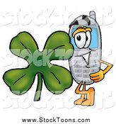 Stock Cartoon of a Cellphone Character with a St Patricks Day Shamrock by Toons4Biz