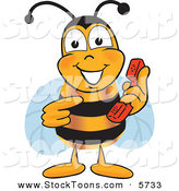 Stock Cartoon of a Cheerful Bee Mascot Cartoon Character Holding and Pointing to a Telephone by Toons4Biz