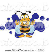 Stock Cartoon of a Cheerful Bee Mascot Cartoon Character Logo with a Blue Paint Splat by Toons4Biz